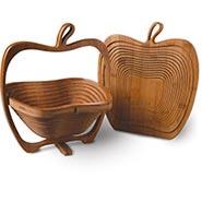 Folding Fruit Bowl Apple Basket in Bamboo