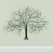 Black Tree Wall Art Handcrafted in India from Metal with Wire Branches