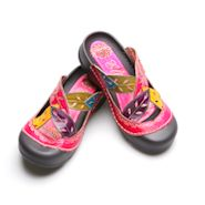 Corky's Slip On Bump Toe Sandals in Handpainted Pink Leather