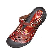 Handpainted Leather Slip-Ons - Outdoor
