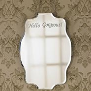 Etched Hello Gorgeous Mirror with Vintage Styling and Beveled Edge - Exclusive