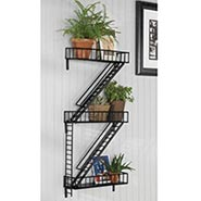 Fire Escape Wall Art Shelf Three Tiered in Black Epoxy-Coated Steel