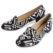 "Aztec Print Casual Shoes - Women's ""Aztec Tapestry"" Black & White on Fabric - 1/2"" Heels"