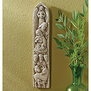 """Joy To The World Nativity Wall Sculpture - Cast Stone - Indoor or Outdoor - 11"""" High"""