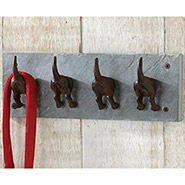 Dog Tails Wall Hooks in Slate and Cast Iron