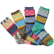 Mix & Match May Flowers Socks - 4 Pairs with Complementary Color Designs
