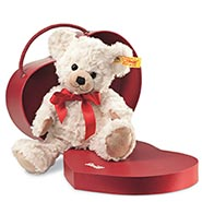 Steiff® Sweetheart Teddy Bear with Cream Color Plush Fur & Red Bow in Heart Shaped Box
