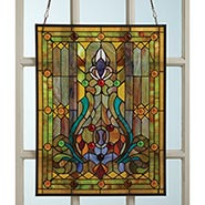 "Victorian Style Stained Glass Window Panel with Fleur De Lis 25"" x 19"""