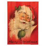 Vintage Look Jolly Santa Sign for Indoor / Outdoor Use
