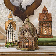 Set of 3 Glass and Metal Architectural Candle Lanterns Gift Set