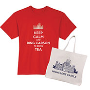 Downton Abbey Gift Set: Keep Calm and Ring Carson T-Shirt and Highclere Castle Tote