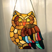 Stained Glass Owl Window Panel