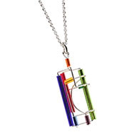 Barbie Levy Multi Colored Architectural Wire & Glass Tube Pendant (rectangle)
