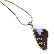 Purple Spotted Swallowtail Butterfly Wing Pendant