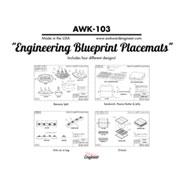 Engineering Blueprint Place Mats Set of 4