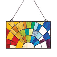 Rainbow Sunset Stained Glass Window Panel