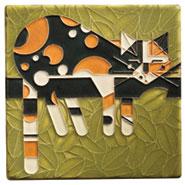 Charley Harper Calico Cat Art Tile