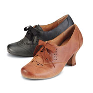Liberty Lace Up Shoes - Leather Upper with Stacked Heel, Oxford Stitching and Cutouts - Black or Tan