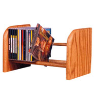 Solid Oak CD Storage Shelves with Wood Dowel Racks