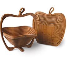 Folding Fruit Bowl Apple Basket in Bamboo