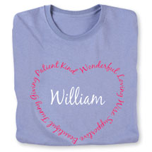 "Personalized ""Your Name"" Attributes Heart Shirt"