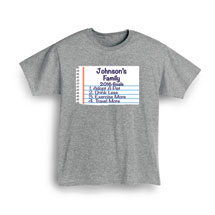 "Personalized ""Your Name""  Goal Shirt - Notebook Family Goals"