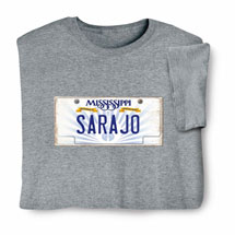 Personalized State License Plate Shirts - Mississippi