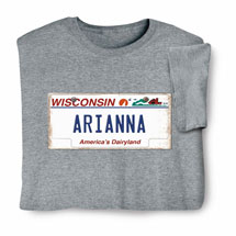 Personalized State License Plate Shirts - Wisconsin