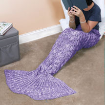 Knit Mermaid Tail Blanket - Purple