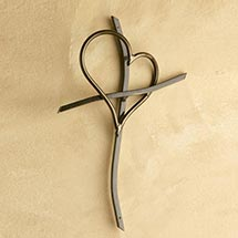 Promise Cross Steel Art - Handcrafted Cross and Heart