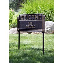 Lawn Sign Personalized Arts And Crafts Welcome Plaque - Black & Gold 2 Line