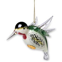 Reverse Painted Glass Hummingbird Ornament