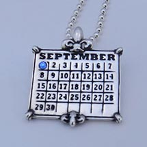 "Personalized Calendar Fleur De Lis Sterling Pendant With 24"" Ball Chain"