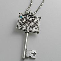 "Personalized Calendar Key Sterling Silver Charm W/24"" Ball Chain"