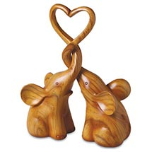 Two Elephants Forming Heart Sculpture