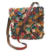 Fun Field of Flowers Leather Shoulder Bag Crossbody for Women with Leather Flowers and Zip Top