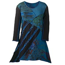 Twilight Print Tunic Top for Women in Blue & Black Patchwork