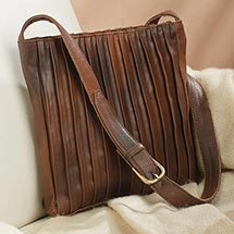 Pleated Antiqued Leather Crossbody Bag