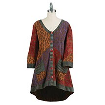 Batik Cardigan Tunic Top