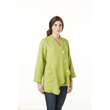 Ribbed Trim Light Jacket in Tunic Length 100% Linen with Asymmetrical Hem - Green and Orange
