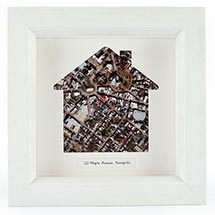 Personalized Framed House Aerial Map Wall Decor