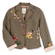 Women's Plaid Blazer Tailored with Floral Embroidery