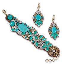 Turquoise On Silk Bracelet