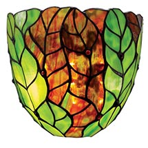 Art Glass Battery-Operated Wall Sconces - Green Leaves