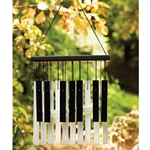 "Für Elise Piano Chimes - Aluminum and Beechwood Wind Chimes, Black and White - 11"" Long"