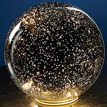 Lighted Mercury Glass Sphere - Starry Points of Light Mirror Reflection Ball - Cordless