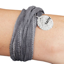 Silk Ribbon Message Bracelet - Happy