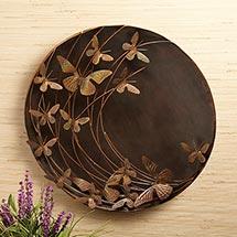 """Flamed Steel Butterflies Wall Art 23"""" Diameter"""
