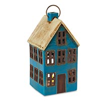 Ceramic House Lanterns - Blue