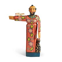 Wooden St Francis Sculpture Hand Carved Patron Saint of Animals